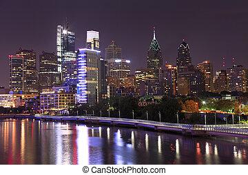 philadelphia, skyline, erleuchtet, nacht
