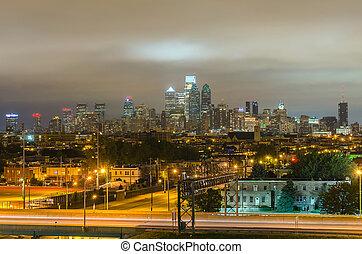 philadelphia, skyline, nacht