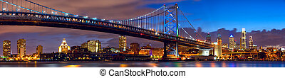 Philadelphia skyline panorama and Ben Franklin Bridge at ...