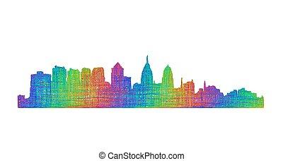 Philadelphia skyline silhouette - multicolor line art