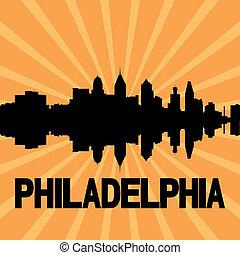 Philadelphia skyline sunburst