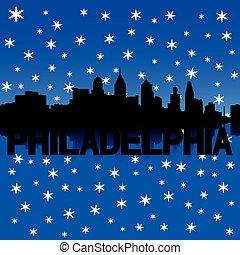 Philadelphia skyline winter
