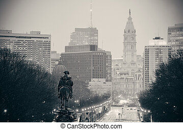 Philadelphia street - George Washington statue oand street...