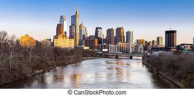 Philadelphia sunset Panorama