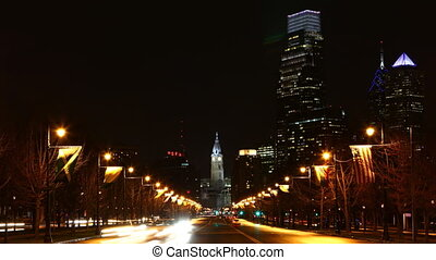 Philadelphia traffic flowing - Philadelphia City center...