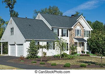 philadelphia, usa, család, épület, külvárosi, pennsylvania, egyedülálló, új