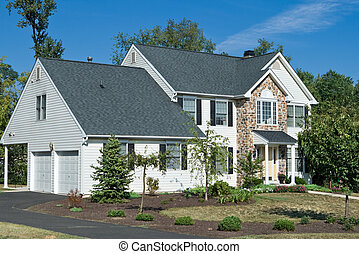 philadelphia, usa, gezin, woning, voorstedelijk,...