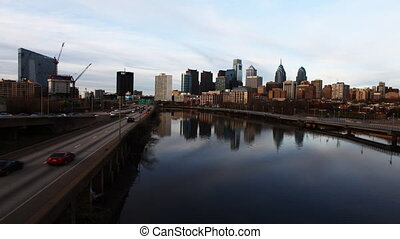 Philadelphia with river in front - A timelapse of...