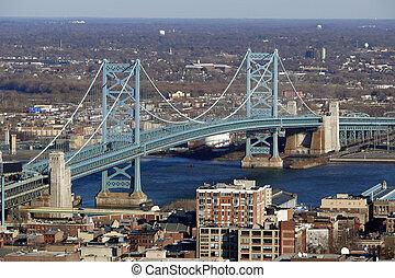 View of Philadelphia's Ben Franklin bridge with New Jersey beyond.