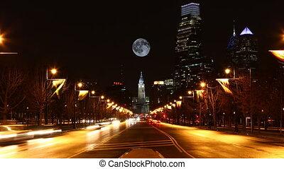 philadelphie, entiers, pennsylvanie, sur, lever lune