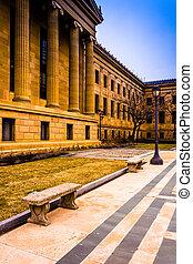 philadelphie, musée art, pennsylvania., extérieur, banc