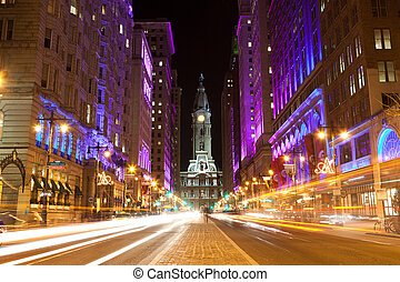 philadelphie, nuit, rues