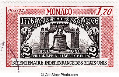 philadelphie, série, cloche, timbre, 1976, image, -, liberté...