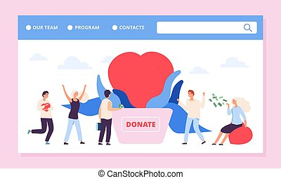 Philanthrophy landing page. Charity or donation vector ...