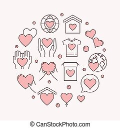 Philanthropy and charity vector colored round illustration -...