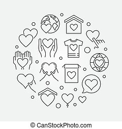 Philanthropy and charity vector round outline illustration -...