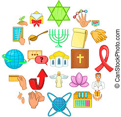 Philanthropy icons set, cartoon style - Philanthropy icons...