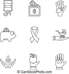 Philanthropy icons set, outline style - Philanthropy icons...