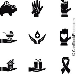Philanthropy icons set, simple style - Philanthropy icons...