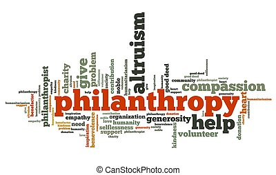 Philanthropy issues and concepts word cloud illustration. ...
