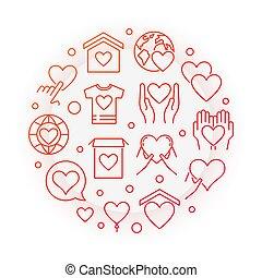 Philanthropy red vector round line illustration