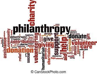 Philanthropy word cloud concept. Vector illustration