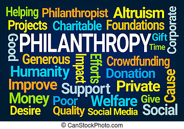 Philanthropy Word Cloud on Blue Background