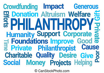 Philanthropy Word Cloud on White Background