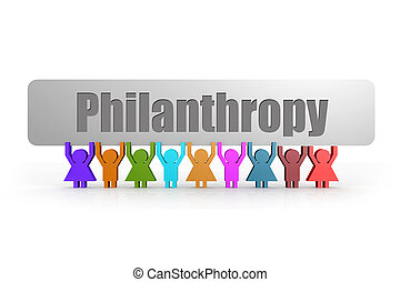Philanthropy word on a banner hold by group of puppets