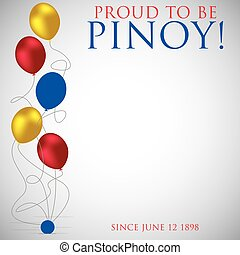philippine, 独立記念日, カード, 中に, ベクトル, format.