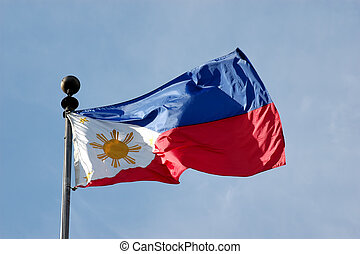 Philippine Flag - Full shot of wind blown flag of the ...