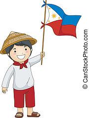 Illustration of a Filipino Kid Holding the Philippine Flag