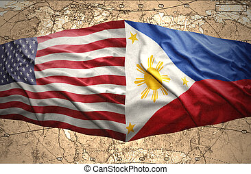 Philippines and United States of America - Waving Philippine...