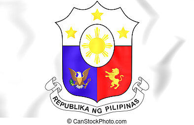 Philippines Coat of Arms. 3D Illustration.