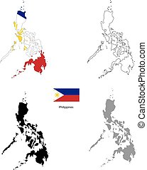 Philippines country black silhouette and with flag on background