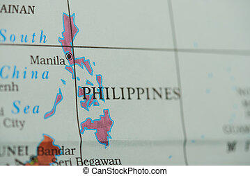 Philippines country on paper map