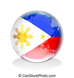 Crystal sphere of Philippines flag with world map