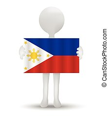Philippines - small 3d man holding a flag of Republic of the...