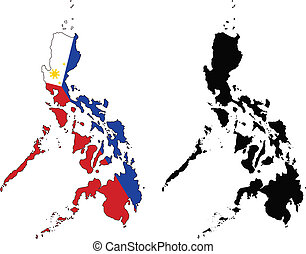 philippines - vector map and flag of Philippines with white...