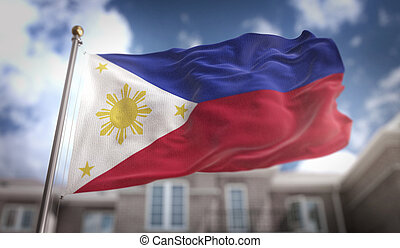 Philippines Flag 3D Rendering on Blue Sky Building Background