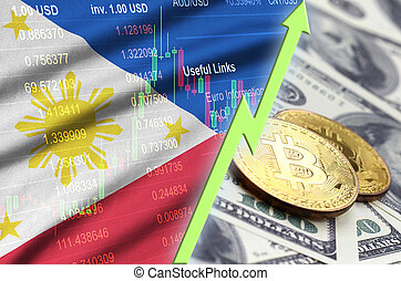 Philippines flag and cryptocurrency growing trend with two bitcoins on dollar bills
