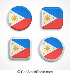 Philippines flag buttons set on the white background