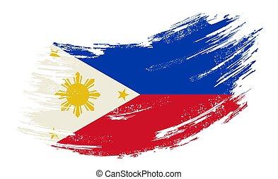Philippines flag grunge brush background. Vector illustration.