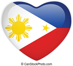Philippines Flag Heart Glossy Button - Vector - Philippines...