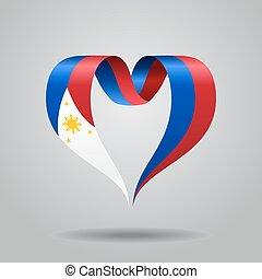 Philippines flag heart-shaped ribbon. Vector illustration. -...