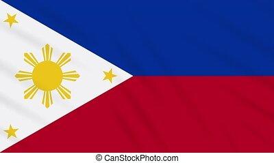 Philippines flag in peacetime waving cloth, loop