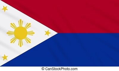 Philippines flag in wartime waving cloth, loop