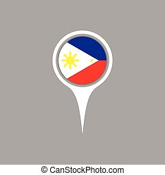 Philippines flag location map icon ,  Vector illustration.