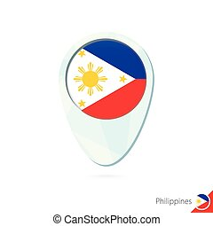 Philippines flag location map pin icon on white background....