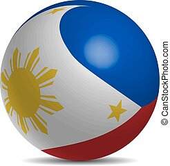 Philippines flag on a 3d ball with shadow, vector...